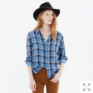Madewell cozy shirt in blue plaid